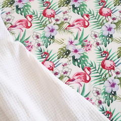 Fitted Cot Sheet - Cotton - Flamingo Palm Leaves, Tropical
