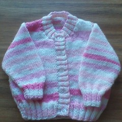 BABY GIRLS CARDI TO FIT 3-6 MONTHS PANDA CIRCUS 8PLY ACRYLIC YARN.