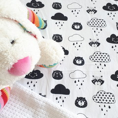 Fitted Cot Sheet - Cotton - Black and White Bears and Cats