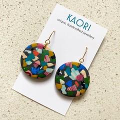 Statement earrings in polymer clay, terrazzo