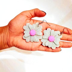 Glow in the dark flower statement dangles