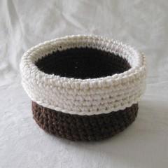 Brown and white crochet basket, brown basket, storage basket, jewellery dish