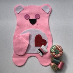 TEDDY BEAR SEWING KIT - LIGHT PINK