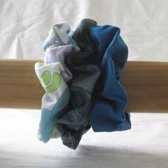 3 blue scrunchies, blue scrunchie, blue ponytail holder, blue hair accessory