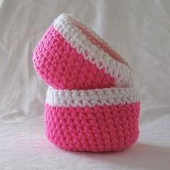 Pink and white crochet baskets, ring bowl, storage basket, key bowls, pink bowl