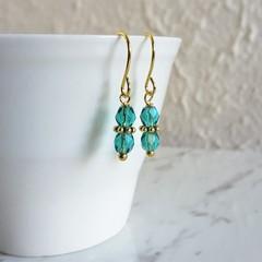 Tropical Bohemian style tiny cut glass bead short drop earring , Turquoise blue