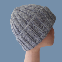 Mens Blue-Gray Wool Hat with Turn Up Cuff