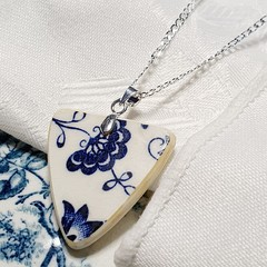 Brilliant blue on white Sterling Silver