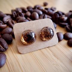 Coffee grounds resin earrings (semicircular)