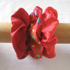 3 red scrunchies, red scrunchie, red ponytail holder, red hair accessory