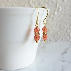 Dainty Boho style tiny cut glass bead short drop earrings , Salmon pink