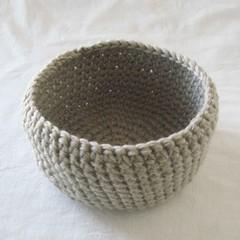 Grey crochet basket, gray storage basket, jewellery dish, key bowl, taupe bowl