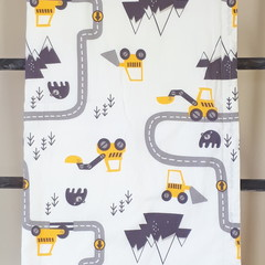 Baby Blanket - Digger Trucks - Cotton and Flannel