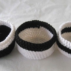 Black and white crochet baskets, black storage baskets, key bowl, jewellery dish