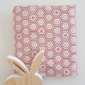 Fitted Cot Sheet - Cotton  - Hexagon, Pink and White
