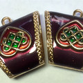 Scissor and Needle Minder - Enamel Celtic Design - Maroon/Purple