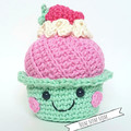 Crochet pink and mint cup cake; strawberry; tea party play