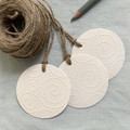 Set of 3 Round Gift Tags with Embossed Detail - Birthday, Wedding, Christmas