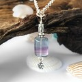 Sterling silver and rainbow fluorite boho pendant necklace with flower charm