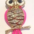 Needle Minder - Enamel and Crystal Owls - Pink