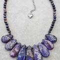 PURPLE JASPER SEA SEDIMENT NECKLACE, PURPLE GEMSTONE NECKLACE, BIB NECKLACE,