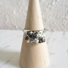 Modern seed bead Multi hoops cluster ring , Size adjustable , Silver Gray White