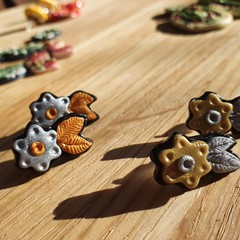 Handmade Earrings - Metallic Blossom Studs