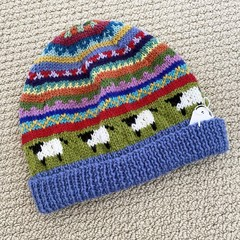 Ladies Sheep Beanie  -hand knitted