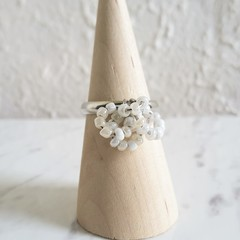 Minimal Modern seed bead Multi hoops cluster ring , Size adjustable , White