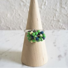 Colourful Bohemian seed bead Multi hoops cluster ring , Size adjustable , Green