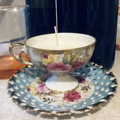 Floral Teacup - Scented Soy Wax Candle