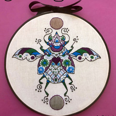 Scarab Beetle ~ an Original, Hand Embroidery PDF Pattern INSTANT DOWNLOAD
