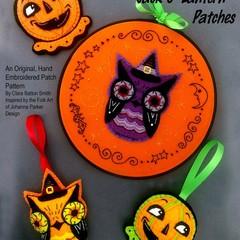 Hoot Owl & Jack O' Lantern ~ a PDF hand embroidered patch pattern.