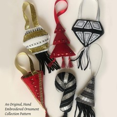 GEOMETRICS ~ a PDF pattern for hand embroidered felt ornaments with pockets