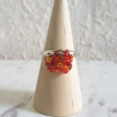 Colourful seed bead Multi hoops cluster ring , Size adjustable , Red Orange