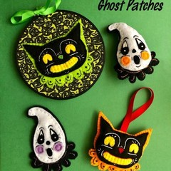 Black Cat and Ghost Patches ~ a PDF hand embroidered patch pattern.