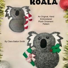 Australian Christmas Koala ~  a PDF pattern for a hand embroidered felt Ornament