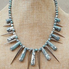 BLUE HOWLITE SPIKED BIB NECKLACE, GEMSTONE JEWELLERY, STATEMENT NECKLACE