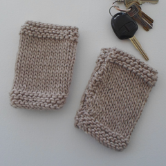 Beige Tube Mitts for Teenager or Adults