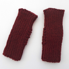 Dark Red Handwarmer Mitts in Adult Size