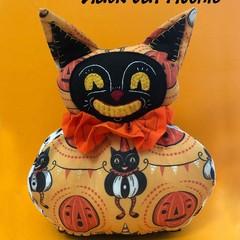Black Cat Plushie~ a PDF Vintage Halloween soft toy pattern.