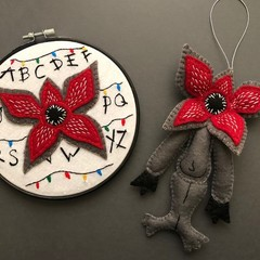 The Demogorgon ~ a PDF pattern for a hand embroidered ornament and hoop
