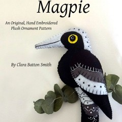 MAGPIE ~ a PDF pattern for a hand embroidered felt plush ornament