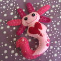 Axolotl Love ~ a PDF pattern for a hand embroidered felt Axolotl ornament