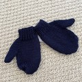 Navy Mittens Size 1-2 years - hand knitted