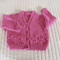 SIZE 18 mths -2 yrs Hand knitted cardigan in pink: washable