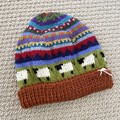 Rust sheep Beanie - to fit approx size 4-8 years -hand knitted