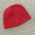 Red Newborn Baby Hat - Hand knitted in pure wool