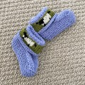 Blue sheep  booties - Hand knitted in Pure Wool