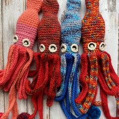 Crochet Squid Toy Softie Kids Bedroom Decor